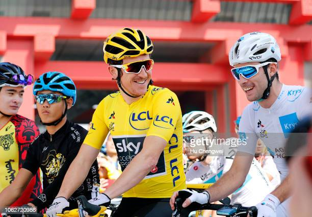 Start / Geraint Thomas of Great Britain and Team Sky Yellow Leader Jersey / Pierre Latour of France and Team AG2R La Mondiale White Best Young Jersey...