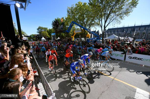 Start / Geraint Thomas of The United Kingdon and Team INEOS / Guillaume Boivin of Canada and Team Israel Cycling Academy / Michael Woods of Canada...