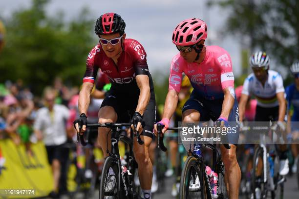Start / Geraint Thomas of United Kingdom and Team INEOS / Michael Woods of Canada and Team EF Education First / Saint-Étienne City / during the 106th...