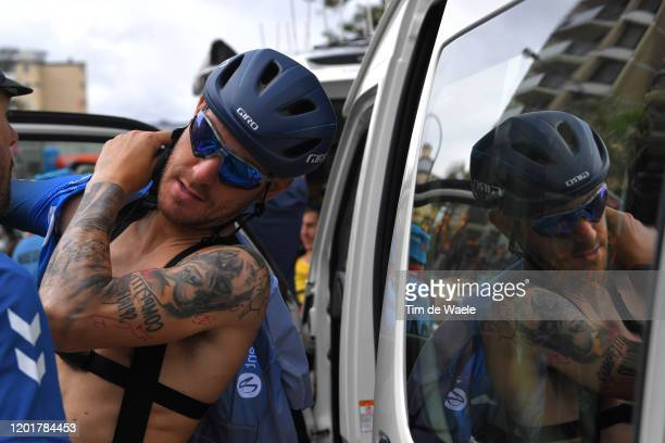 Start / Giacomo Nizzolo of Italy and Team NTT Pro Cycling / Tattoo / Detail view / Glenelg City / during the 22nd Santos Tour Down Under 2020, Stage...