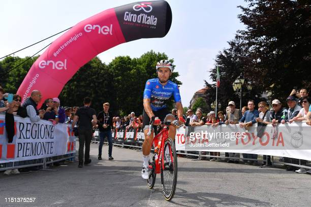 Start / Gianluca Brambilla of Italy and Team Trek - Segafredo Blue Mountain Jersey / Pinerolo City / during the 102nd Giro d'Italia 2019, Stage 13 a...