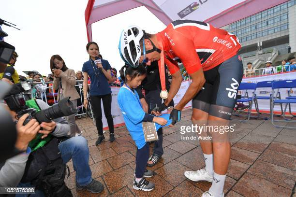 Start / Gianni Moscon of Italy and Team Sky Red Leader Jersey / Fans / Public / Children / during the 2nd Tour Of Guangxi 2018 Stage 5 a a 2122km...