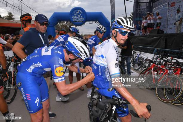 Start / Giovanni Lombardi of Italy Riders Manager / Maximiliano Richeze of Argentina and Deceuninck QuickStep Team / Julian Alaphilippe of France and...