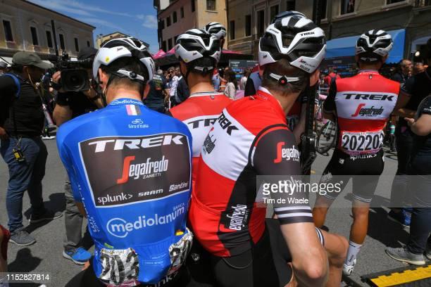 Start / Giulio Ciccone of Italy and Team Trek - Segafredo Blue Mountain Jersey / Gianluca Brambilla of Italy and Team Trek - Segafredo / Treviso City...