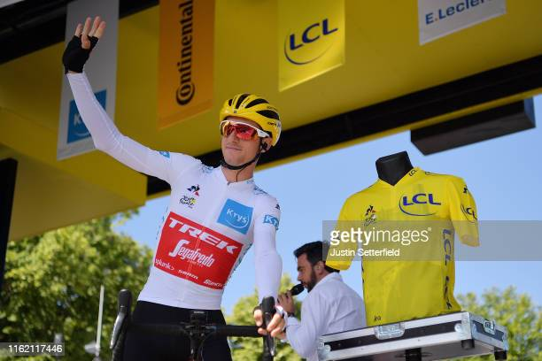 Start / Giulio Ciccone of Italy and Team Trek-Segafredo White Young Jersey / Yellow Jersey Centenary Sainte-Cécile d'Albi Cathedral / Detail view /...