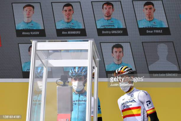 Start / Gorka Izagirre Insausti of Spain and Luis Leon Sanchez Gil of Spain and Astana Pro Team / Face ID Signature / Covid safety measures / Team...