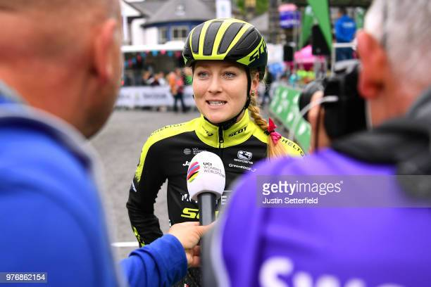 Start / Gracie Elvin of Australia and Team MitcheltonScott / Press Media / during the 5th OVO Energy Women's Tour 2018 Stage 5 a 122km stage from...