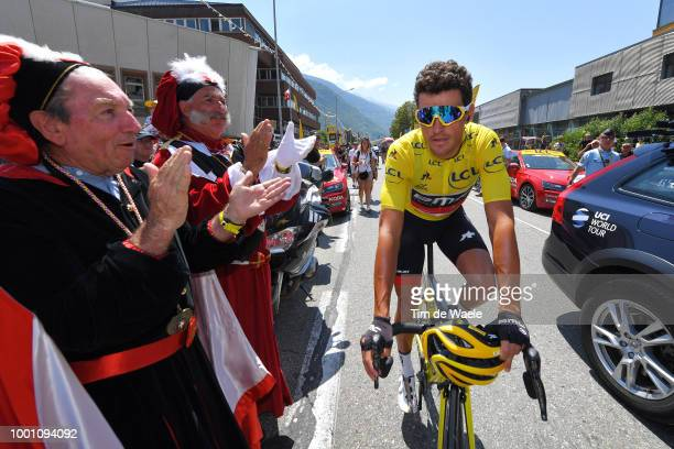 Start / Greg Van Avermaet of Belgium and BMC Racing Team Yellow Leader Jersey / Fans / Public / during the 105th Tour de France 2018 Stage 11 a...