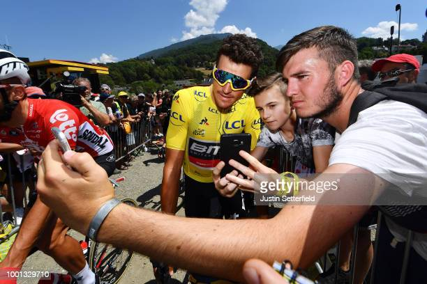 Start / Greg Van Avermaet of Belgium and BMC Racing Team Yellow Leader Jersey / Fans / during the 105th Tour de France 2018 Stage 11 a 1085km stage...