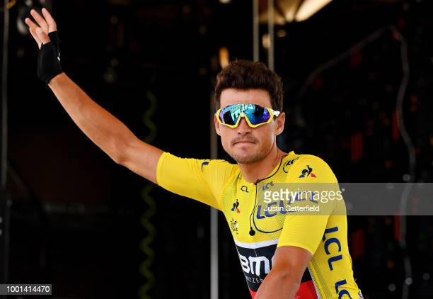 Start / Greg Van Avermaet of Belgium and BMC Racing Team Yellow Leader Jersey / during the 105th Tour de France 2018 Stage 11 a 1085km stage from...