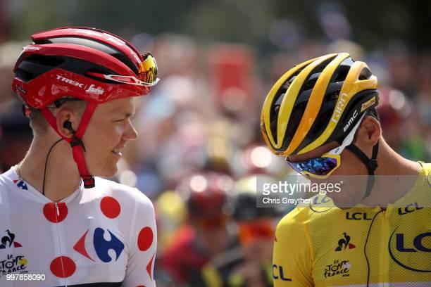 Start / Greg Van Avermaet of Belgium and BMC Racing Team Yellow Leader Jersey / Toms Skujins of Latvia and Team Trek Segafredo Polka Dot Mountain...