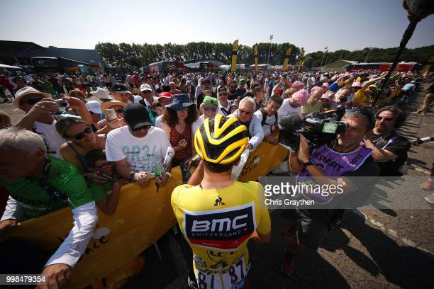 Start / Greg Van Avermaet of Belgium and BMC Racing Team Yellow Leader Jersey / Public / Fans / during the 105th Tour de France 2018, Stage 8 a 181km...