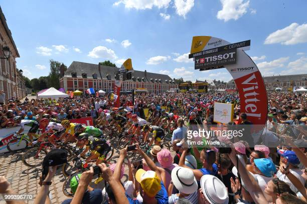 Start / Greg Van Avermaet of Belgium and BMC Racing Team Yellow Leader Jersey / Peter Sagan of Slovakia and Team Bora Hansgrohe Green Sprint Jersey /...