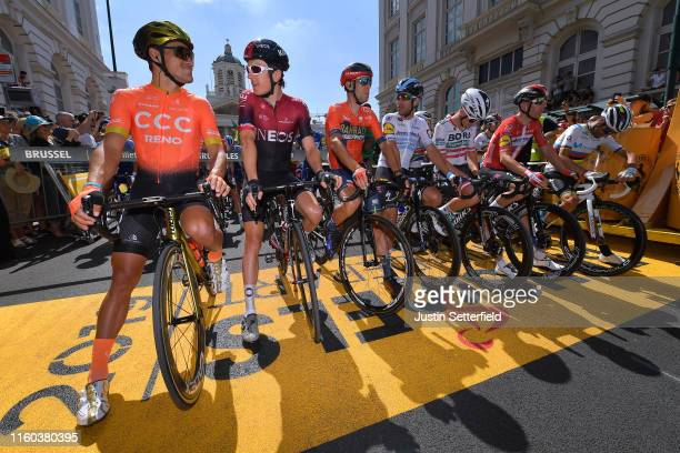 Start / Greg Van Avermaet of Belgium and CCC Team / Geraint Thomas of United Kingdom and Team INEOS / Vincenzo Nibali of Italy and Team BahrainMerida...
