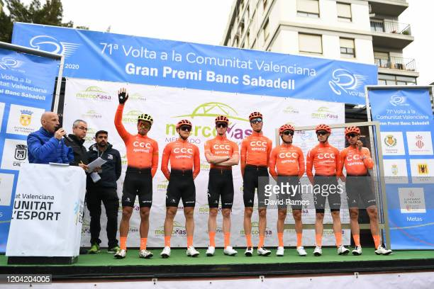 Start / Greg Van Avermaet of Belgium and CCC Team / Victor De La Parte of Spain and CCC Team / Alessandro De Marchi of Italy and CCC Team / Serge...