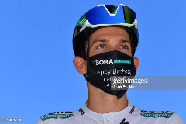 Start / Gregor Muhlberger of Austria and Team Bora - Hansgrohe / Mask / Covid safety measures / Team Presentation / during the 107th Tour de France...