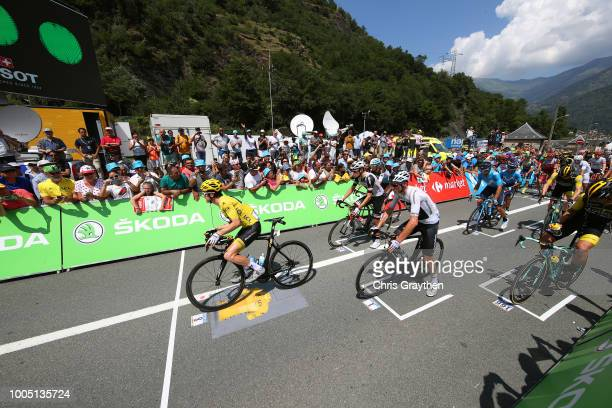 Start Grid / Geraint Thomas of Great Britain and Team Sky Yellow Leader Jersey / Christopher Froome of Great Britain and Team Sky / Tom Dumoulin of...