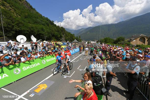 Start Grid / Nairo Quintana of Colombia and Movistar Team / Christopher Froome of Great Britain and Team Sky / / Landscape / Fans / Public / during...