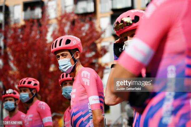 Start / Hugh Carthy of The United Kingdom and Team EF Pro Cycling / Mask / Covid safety measures / Team Presentation / during the 75th Tour of Spain...