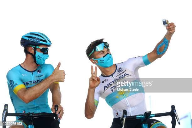 Start / Hugo Houle of Canada and Astana Pro Team / Alexey Lutsenko of Kazahkstan and Astana Pro Team / Selfie / during the 107th Tour de France 2020,...