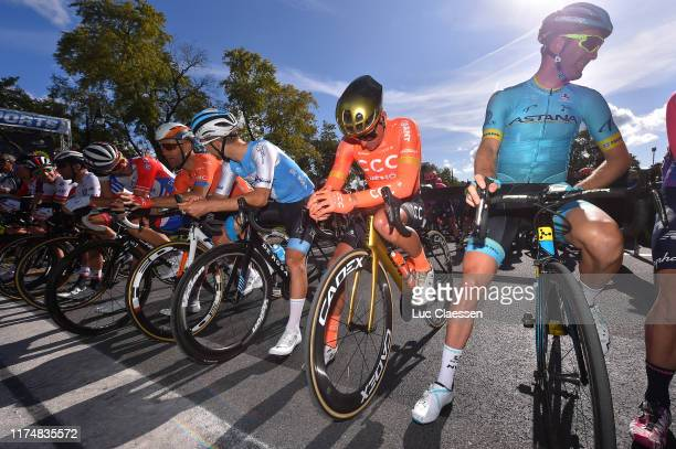 Start / Hugo Houle of Canada and Astana Pro Team / Greg Van Avermaet of Belgium and CCC Team / Svein Tuft of Canada and Team Rally UHC Cycling /...