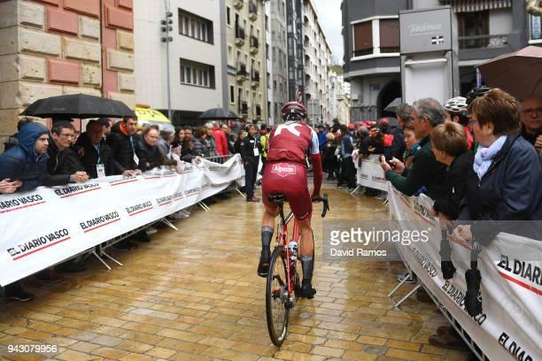 Start / Ilnur Zakarin of Rusia and Team KatushaAlpecin / Public / Fans / Children / Rain / during the 58th Vuelta Pais Vasco 2018 Stage 6 a 1222km...