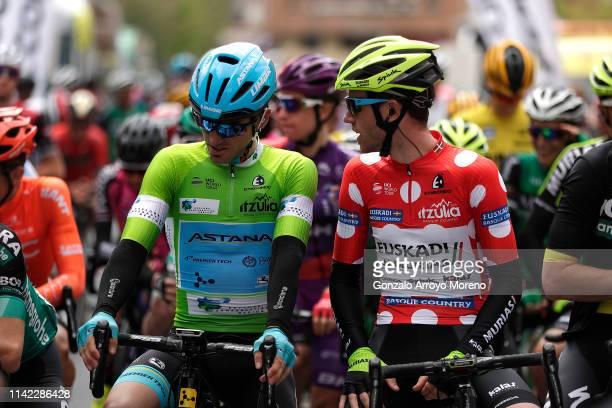 Start / Ion Izagirre of Spain and Astana Pro Team Green Points Jersey / Garikoitz Bravo of Spain and Team Euskadi Basque Country - Murias Polka Dot...