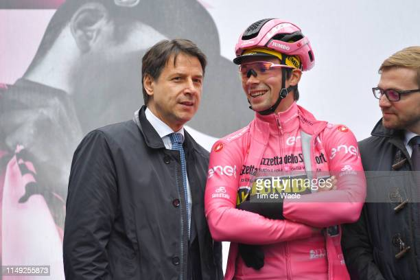 Start / Italian Prime Minister Giuseppe Conte / Primoz Roglic of Slovenia and Team Jumbo - Visma Pink Leader Jersey / Team Presentation / during the...