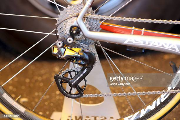 Start / Jakob Fuglsang of Denmark and Astana Pro Team / Cassete / Chain / Derailleur Pulley / Argon Bike / Detail View / during stage five of the...