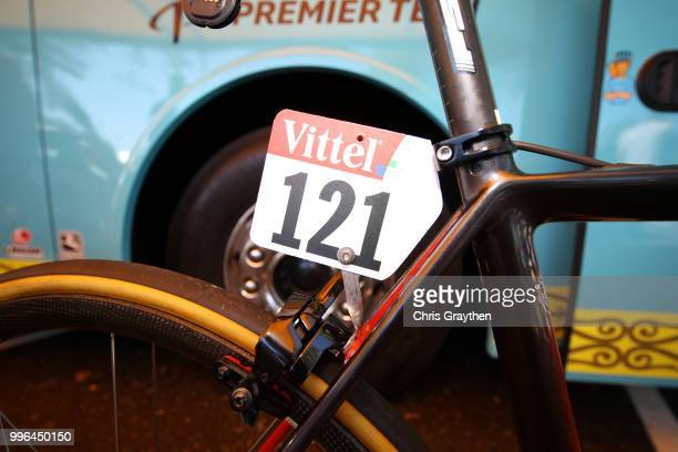 Start / Jakob Fuglsang of Denmark and Astana Pro Team / Number / Argon Bike / Detail View / during stage five of the 105th Tour de France 2018 a...