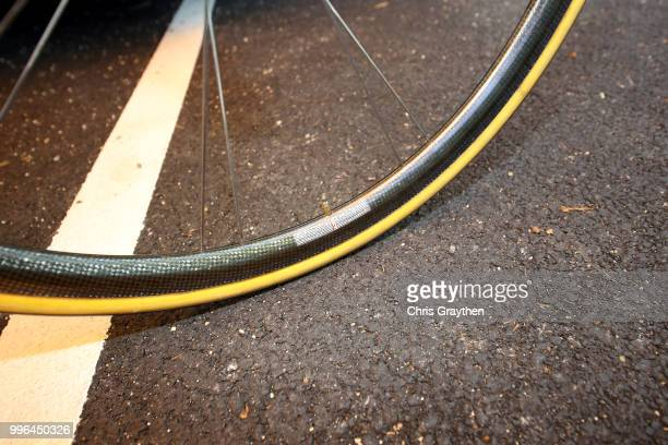 Start / Jakob Fuglsang of Denmark and Astana Pro Team / Rim / Tire / Valve stem / Wheel / Argon Bike / Detail View / during stage five of the 105th...