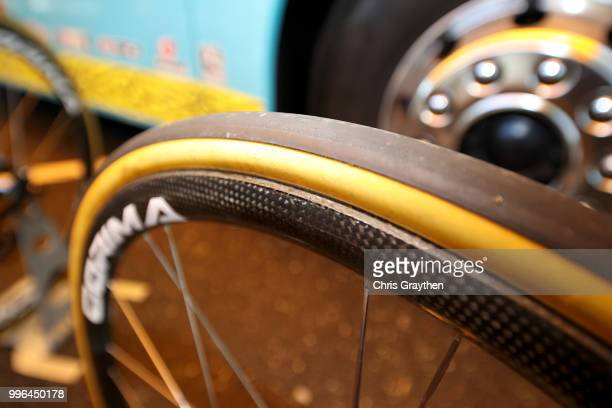 Start / Jakob Fuglsang of Denmark and Astana Pro Team / Rim / Tire / Wheel / Argon Bike / Detail View / during stage five of the 105th Tour de France...