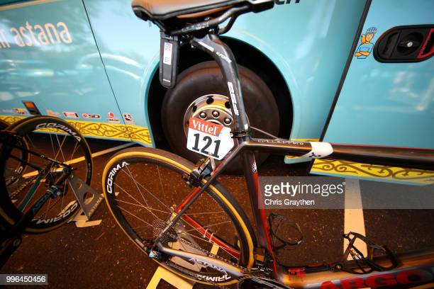Start / Jakob Fuglsang of Denmark and Astana Pro Team / Wheel / Number / Argon Bike / Detail View / during stage five of the 105th Tour de France...