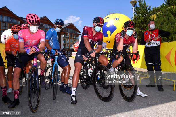 Start / James Whelan of Australia and Team EF Education First / Owain Doull of The United Kingdom and Team Ineos / Rohan Dennis of Australia and Team...
