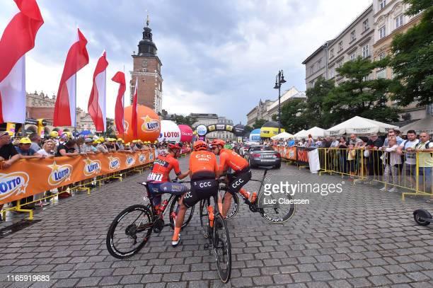 Start / Jan Tratnik of Slovenia and Bahrain - Merida / Kamil Gradek of Poland and CCC Team / Pawel Bernas of Poland and CCC Team / Kraków City / Fans...