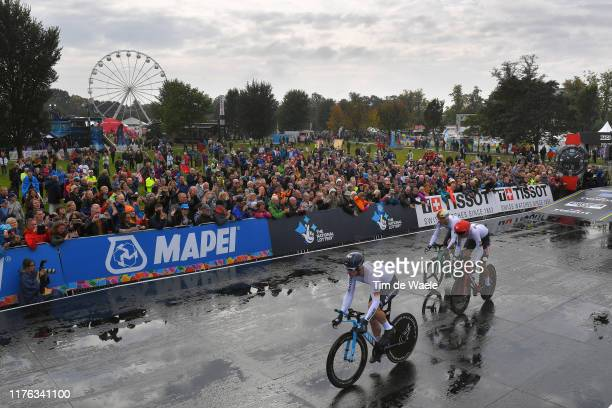 Start / Jasha Sutterlin of Germany / Nils Politt of Germany / Tony Martin of Germany / Fans / Public / Rain / during the 92nd UCI Road World...