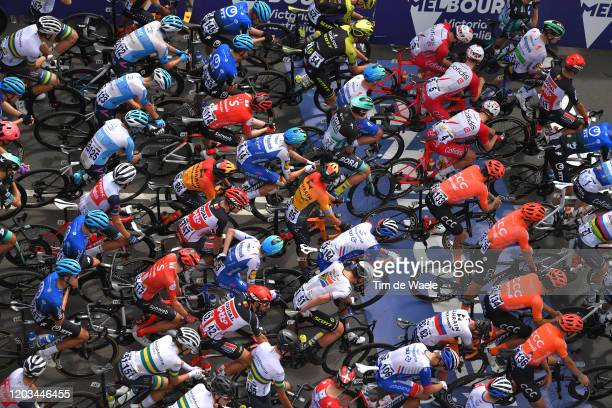 Start / Jay Mccarthy of Australia and Team BORA-Hansgrohe / Sam Bennett of Ireland and Team Deceuninck - Quick-Step / Caleb Ewan of Australia and...