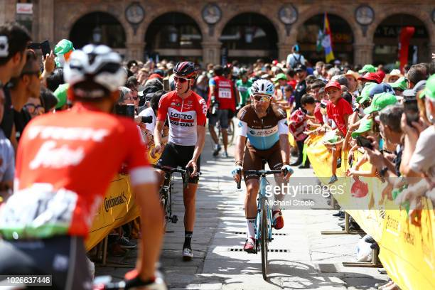 Start / Jelle Wallays of Belgium and Team Lotto Soudal / Nans Peters of France and Team AG2R La Mondiale / Main Square of Salamanca / during the 73rd...
