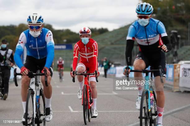 Start / Jesper Hansen of Denmark / Mask / Covid Safety Measures / Autodromo Enzo e Dino Ferrari / during the 93rd UCI Road World Championships 2020,...