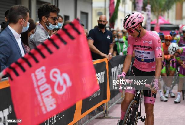 Start / Joao Almeida of Portugal and Team Deceuninck - Quick-Step Pink Leader Jersey / Mileto City / Fans / Public / during the 103rd Giro d'Italia...
