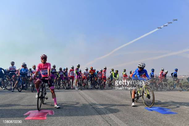Start / Joao Almeida of Portugal and Team Deceuninck - Quick-Step Pink Leader Jersey / Ruben Guerreiro of Portugal and Team EF Pro Cycling Blue...