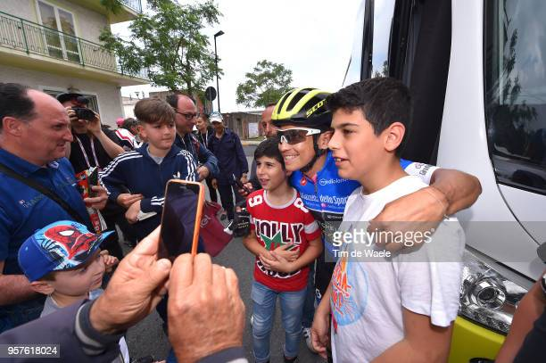Start / Johan Esteban Chaves Rubio of Colombia Blue Mountain Jersey and Team Mitchelton-Scott / Fans / Public / Children / during the 101th Tour of...