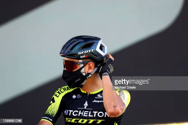Start / Johan Esteban of Chaves Rubio of Colombia and Team Mitchelton - Scott / Mask / Covid safety measures / Team Presentation / during the 107th...