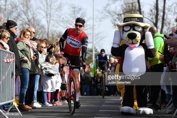 Start / John Degenkolb of Germany and Team TrekSegafredo / Fans / Public / Mascot / during the 77th Paris Nice 2019 Stage 3 a 200km stage from Cepoy...