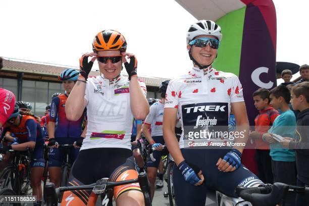 Start / Jolien Dhoore of Belgium and Boels Dolmans Cycling Team White Leader Jersey / Elisa Longo Borghini of Italy and Team Trek Segafredo Polka Dot...