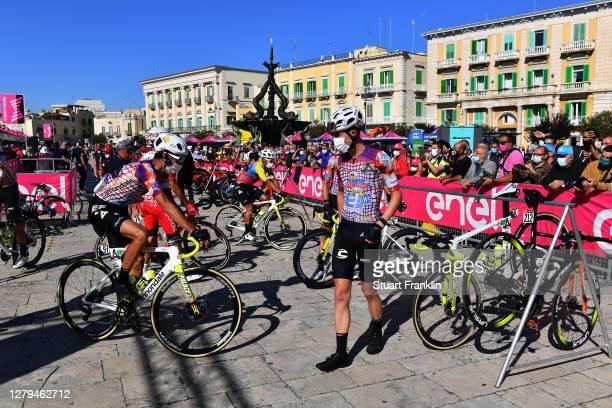 Start / Jonathan Caicedo Cepeda of Ecuador and Team EF Pro Cycling / Lachlan Morton of Australia and Team EF Pro Cycling / James Whelan of Australia...
