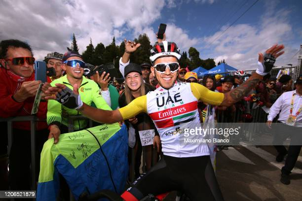 Start / Juan Sebastian Molano Benavides of Colombia and UAE Team Emirates Yellow Points Jersey / Fans / Public / during the 3rd Tour of Colombia...