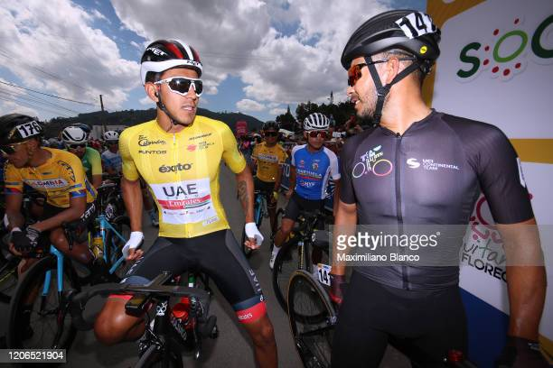 Start / Juan Sebastian Molano Benavides of Colombia and UAE Team Emirates Yellow Points Jersey / Rodolfo Andres Torres Agudelo of Colombia and Team...