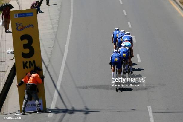 Start / Julian Alaphilippe of France and Team Deceuninck Quick Step / Alvaro Jose Hodeg Chagui of Colombia and Team Deceuninck Quick Step / Mikkel...