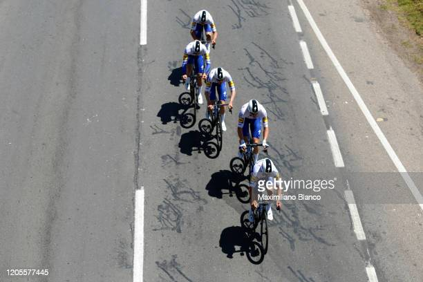Start / Julian Alaphilippe of France and Team Deceuninck - Quick Step / Alvaro Jose Hodeg Chagui of Colombia and Team Deceuninck - Quick Step /...